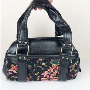 Vtg Black Faux Leather Floral Tapestry Handbag